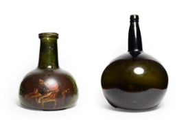 A Green Glass Carafe, 18th century, of onion form with broad tapering neck, painted with a gentleman