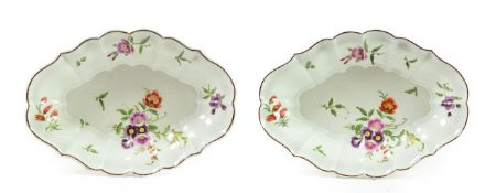 A Pair of Worcester Porcelain Fluted Oval Dessert Dishes, circa 1770, painted in green and gilt with