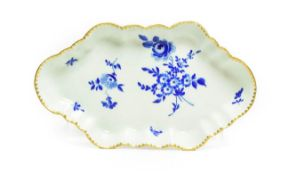 A Worcester Porcelain Spoon Tray, circa 1770, of lobed lozenge form, painted in Dry Blue with