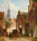 D Pols (19th century) Dutch Street scene with figures returning from market Signed, oil on panel,