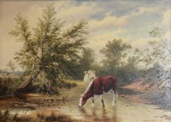 H Leslie Davis (19th/20th century) Cattle watering on a river Signed and dated 1899, oil on board,