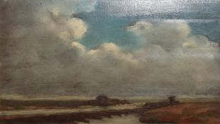 Paul Paul (1865-1937) Coastal view Signed, oil on board, 12cm by 20cm . Painted on a relatively thin