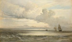 William Fleming Vallance RSA (1827-1904) Scottish Extensive seascape with boats in full sail and