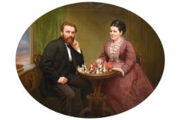 Edmund Swift Jnr. (19th century) Portrait of Joseph Carus White and his wife Maria Harriet White nee