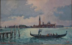 Robin Furness (b.1933) ''Early Morning Commuters, Venice'' Signed and dated (19)99, oil on canvas