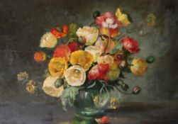 Attributed to Cecil Kennedy (1905-1997) Still life of flowers in a glass vase Bears signature, oil