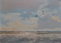 Keith Shackleton MBE (1923-2015) ''Widgeon over Bosham'' Signed and dated (19)52, oil on canvas