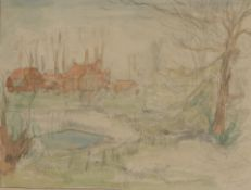 Alexander Jamieson (1873-1937) Scottish Houses amongst trees Signed, watercolour and pencil, 23cm by