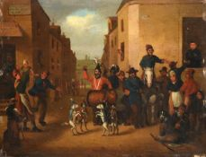 French School (19th century) Dogs dancing on the Rue de Joie Oil on panel, 24cm by 31.5cm, unframed
