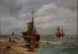 Hans Wacker-Elsen (1868-1958) German Shipping scene with figure unloading the day's catch Signed,