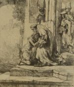 After Rembrandt van Rijn (1606-1669) Dutch Return of the Prodigal Son Etching, 15cm by 13.5cm .