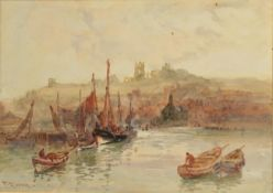 Frank Rousse (exh.1890-1915) A view of Whitby Abbey from the Harbour Signed, watercolour, together