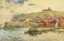 Albert George Stevens (1863-1925) A view of Whitby Abbey from the Harbour Signed, watercolour,