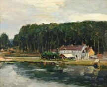 Alexander Jamieson (1873-1937) Scottish Village on the Seine Signed, inscribed and dated 1912 verso,