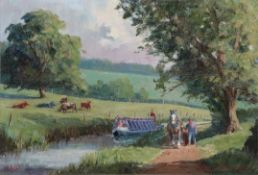 Robin Furness (b.1933) ''The Barge Horse'' - Tiverton Canal, Devon Signed and dated 2010, oil on