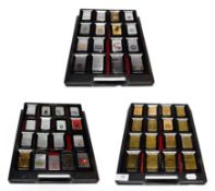 ~ A collection of Zippo lighters including advertising and brass examples (3 trays)