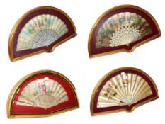 ~ Four fans each in a gilt framed wall hanging display case, including a silk example embroidered
