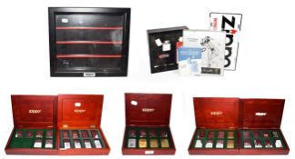 ~ Five collectors display cases containing a total of thirty-eight Zippo lighters, US Presidents,