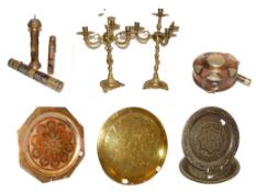 ~ A quantity of mainly Eastern brass and copper items, including three cylindrical scroll canisters,