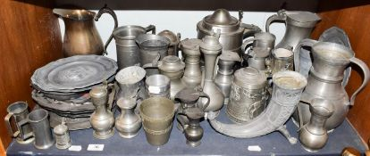 ~ A quantity of Continental pewter items, tankards, ewers and plates etc including Belgian,