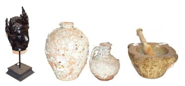 ~ A white marble mortar with wooden pestle, two shipwrecked terracotta vessels and a composite