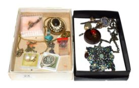 ~ Two small boxes of costume jewellery and collectables, including a coloured paste set necklet, Art