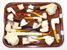 ~ A collection of Meerschaum pipes, one large example elaborately formed as a Turk and also