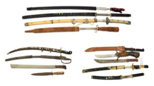 ~ Three machetes, an Indian sword with wood scabbard and a quantity of copy swords