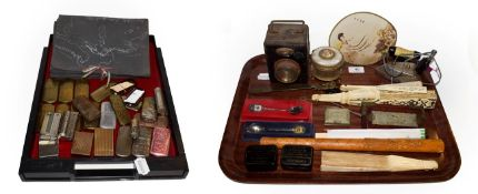 ~ Collectables including a 1950s European photograph album, brass lighters, fans including bone
