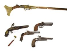 ~ A Modern non-working copy of a jezail; a double barrel percussion pistol; two relic condition