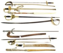~ Two Argentinean strap whips; a quantity of German and other copy swords and a shillelagh