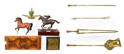 Brass ink stand, fireside companion set, oak book slide, Naples bisque figure, Royal Doulton horse
