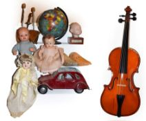 ~ Assorted collectables including composite and bisque dolls, novelty 20cm globe, shoe stretchers
