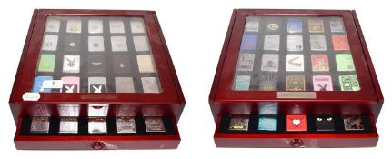 ~ Two collectors display cases each containing forty Zippo lighters over two layers, US Navy,