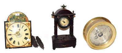 ~ A Continental twin weight hanging alarm clock striking on a bell, a quartz portico mantel