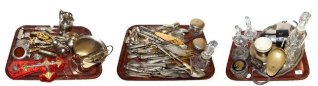 ~ Three trays of assorted Continental silver and silver plate, including gilt utensils, cream