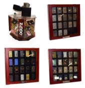 ~ Three collectors display cases containing a total of fifty-seven Zippo lighters, a rotating