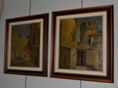 ~ * Viceri (20th century), Continental townscape, signed, oil on canvas, together with a companion