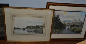 David Muirhead ARA (1867-1930) Scottish, Harbour scene, signed and dated 1929, watercolour, together