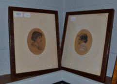 Walter Seymour (19th century) British, pair of oak framed watercolour portraits, young ladies, one