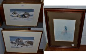 Donald Crossley (20th century) Sheep grazing in a snowbound landscape, signed, watercolour, together