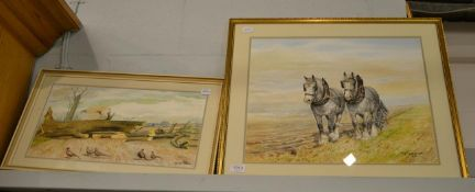 DM & EM Alderson (later 20th century) Plough team of dapple grey heavy horses, signed and dated