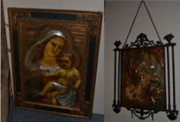 ~ Two relief polychrome plaques, one depicts the Virgin Mary and Child, the other St George and