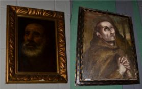 ~ Manner of El Greco, Penitent Franciscan, oil on canvas, together with a further continental head