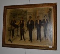 ~ P* Sabate (early 20th century) Spanish, Gentleman in a suitmakers, signed and dated 1905,