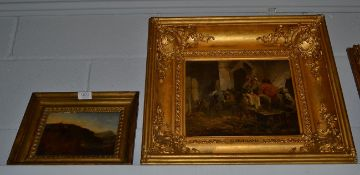 After George Morland (1763-1804), Travellers in repose at a doorway, bears signature, oil on canvas,