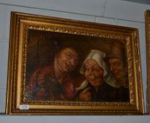 Manner of Adriaen van Ostade, Figures merrymaking, oil on canvas, 32cm by 50cm