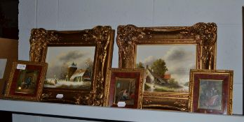 A pair of 20th century Dutch school oil on board winter scenes, each signed J. Korsten, 19cm by 24cm
