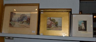 P. Arnold (19th/20th century) Village views, a pair, signed and dated 1922, watercolours, 24cm by