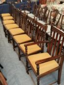 Two sets of four George V dining chairs, one set with barley twist supports including a carver